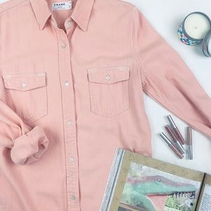 Frame Peachy Pink Lightweight Denim Button Up